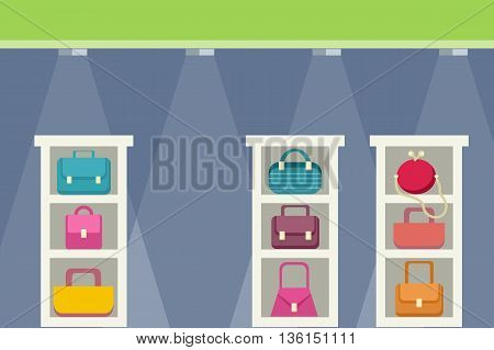 Shopping center with bag design. Retail store or center mall, sale or buy shop, fashion market shopping and business commercial consumerism, purchase boutique flat style concept. Vector illustration