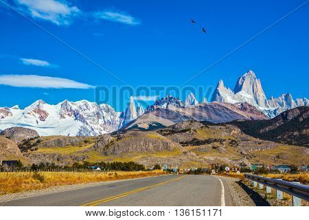Sunny day in February in Argentine Patagonia. Excellent asphalt road to the majestic Mount Fitz Roy