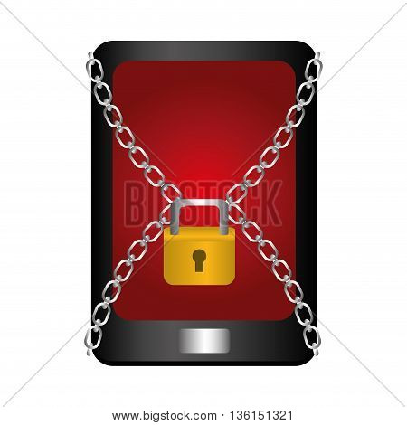 Security system concept represented by smartphone and padlock icon. isolated and flat illustration