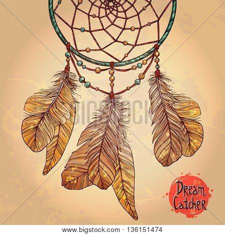 Indian Dream Catcher. Native American Tribal Symbol. Vintage Hand Drawn Colorful Illustration