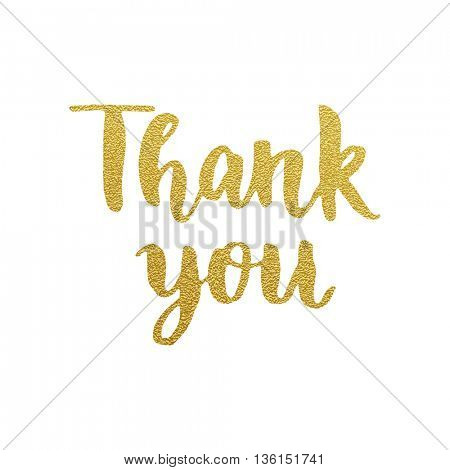 Thank you gold glitter card design. Vector chic thank you text design. Thank You hand drawn calligraphic pen scratch ornate lettering. Thanksgiving greeting card.