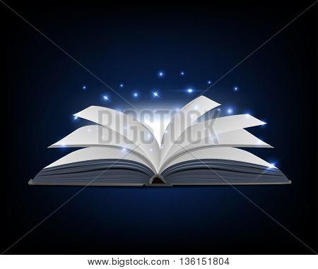 covered opened book with pages fluttering. vector illustration.