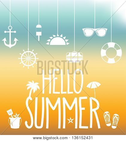 Hanging summer icons. Hello summer poster with icons. Vector illustration.