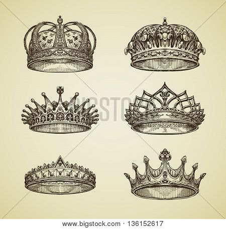 Hand drawn vintage imperial crown in retro style. King, Emperor, dynasty, throne, luxury symbol. Vector illustration