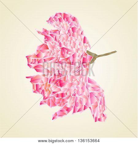 Sakura blossom polygons abstract flower vector illustration