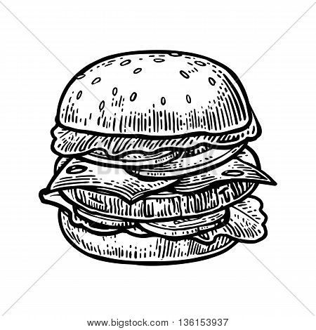 Burger include cutlet tomato cucumber and salad isolated on white background. Vector vintage engraving illustration for poster menu web banner info graphic