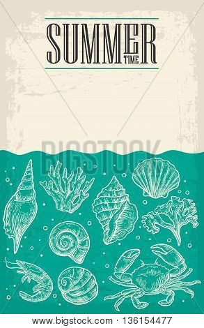 Concept of summer poster with sea shell coral crab and shrimp and empty paper for message. Vector engraving vintage illustrations.