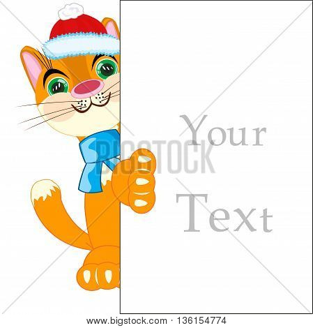 Cat with a sign for your text