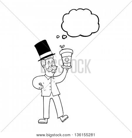 freehand drawn thought bubble cartoon man with coffee cup