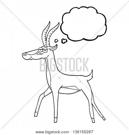 freehand drawn thought bubble cartoon gazelle