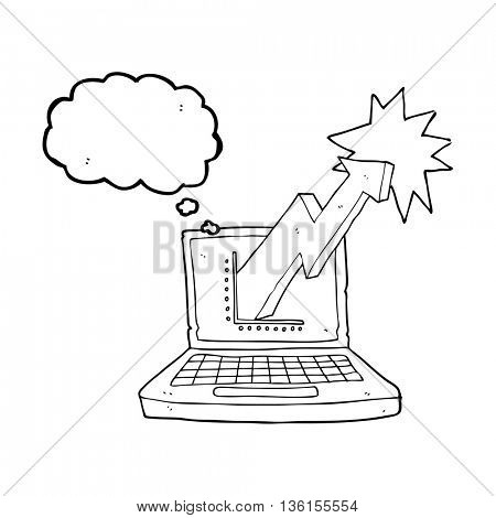 freehand drawn thought bubble cartoon laptop computer with business graph