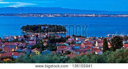 Island of Ugljan evening aerial panorama Dalmatia Croatia