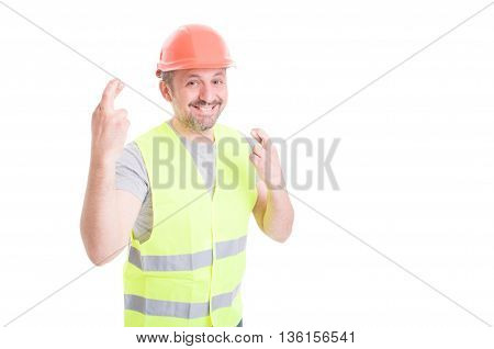 Attractive Smiling Male Constructor Doing Double Luck Gesture