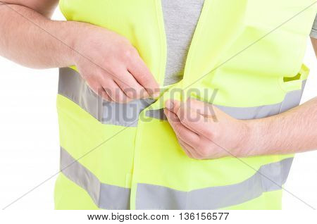 Closeup Of Male Constructor In Protection Workwear Getting Ready
