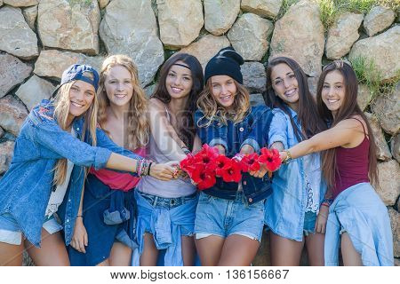 group of girls at music festival