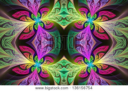 Multicolored Symmetrical flower pattern in stained-glass window style. Green and purple palette. Artwork for creative design art and entertainment.