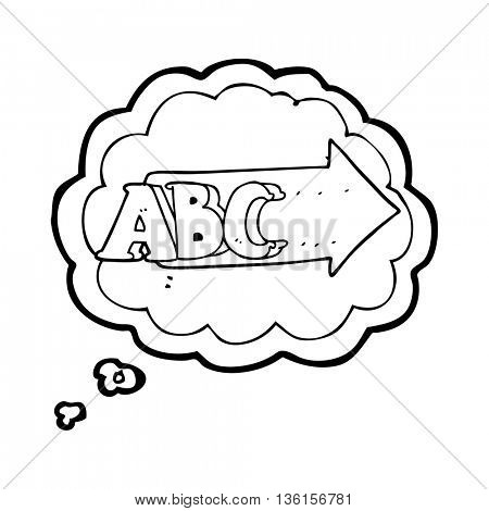 freehand drawn thought bubble cartoon ABC symbol