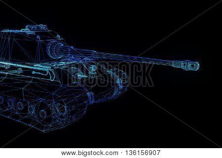 3D Tank Hologram Wireframe in Motion. Nice 3D Rendering