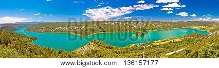 Krka river national park panoramic view with Visovac monastery Dalmatia Croatia