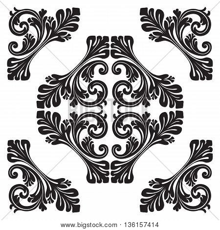 Vintage baroque frame scroll ornament engraving border floral retro pattern antique style acanthus foliage swirl decorative design element filigree calligraphy vecto