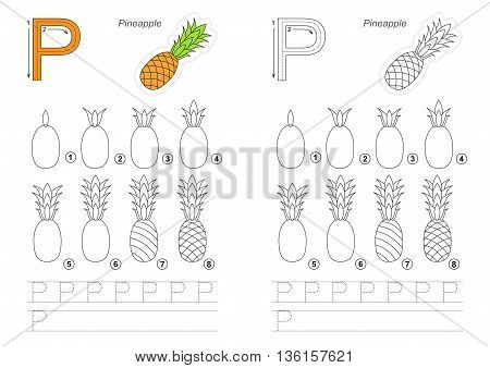 Complete vector illustrated alphabet with kid games. Learn handwriting. Easy educational kid game. Simple level of difficulty. Gaming and education. Drawing tutorial for letter P. Pineapple.