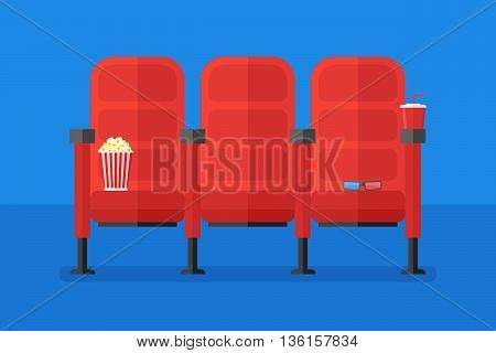 Cinema chairs with popcorn, soda and 3d glasses. Flat style horizontal banner. Vector illustration.