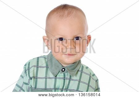 adorable cute children on white background close-up portrait