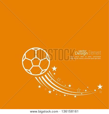 Vector icon of a soccer ball. football. Abstract background with vector image of flying soccer ball. layout for booklet, flyer, cover, preview, announcement, report.  trail star