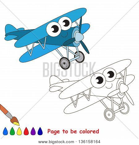 Blue Biplane to be colored. Coloring book to educate kids. Learn colors. Visual educational game. Easy kid gaming and primary education. Simple level of difficulty. Coloring pages.