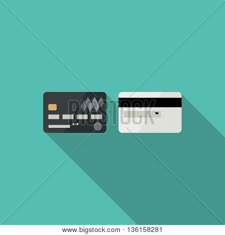 Credit cards with long shadow in flat style. Icons of credit cards.