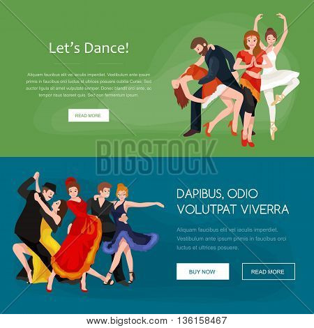 Vector illustration of couple dancing modern dance, Partners dance bachata, Dancing style design concept set, traditional dance flat icon isolated vector illustration, Man and woman ballroom dancing.