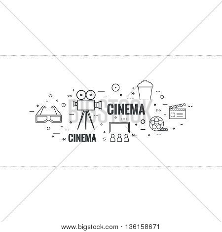 Abstract background with popcorn,  camera, film reel, clapboard, 3D glasses and  tickets. The concept of cinema and watching  movie. Layout, flyer, poster for announcement. thin line.