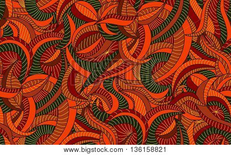 Seamless pattern background with fancy autumn leaves