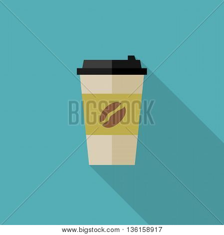 Coffee paper cup icon. Flat illustration of coffee paper cup