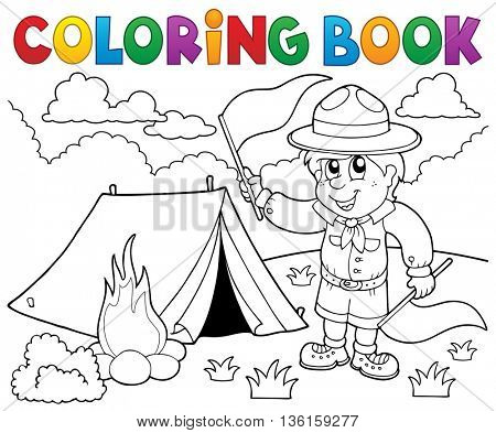 Coloring book scout boy with flags - eps10 vector illustration.