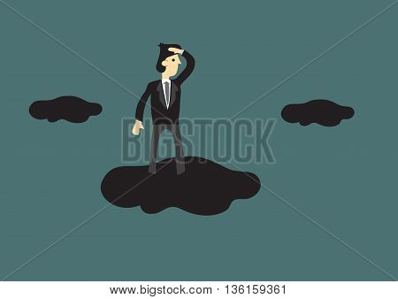 Cartoon businessman standing on a cloud in the sky with hand shielding above eyes in looking gesture. Creative vector illustration for business vision concept.