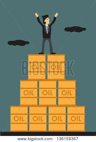 Vector illustration of cartoon businessman standing on top of stack of oil barrel with both arms raised.