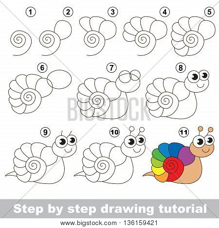 Drawing tutorial for children. Easy educational kid game. Simple level of difficulty. Kid education and gaming. How to draw The Rainbow Snail.