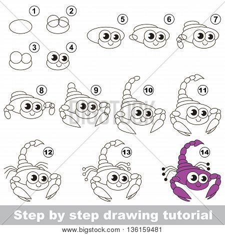 Drawing tutorial for children. Easy educational kid game. Simple level of difficulty. Kid education and gaming. How to draw Cute Scorpio.