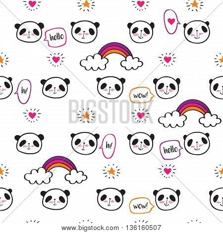 Seamless pattern with cute pandas, rainbows, speech bubbles, hearts and stars. Wrapping paper, cloth. Sketch, doodles, design elements. Hand drawing. Vector.