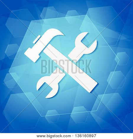 tools sign - white symbol over blue background, flat design, business service concept, vector