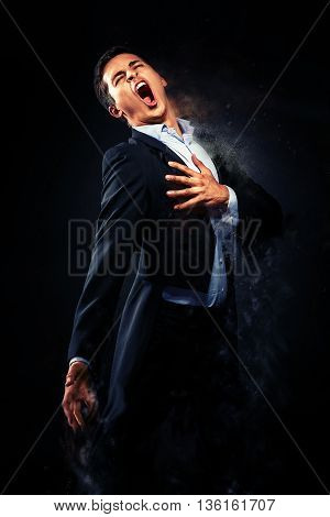 Opera singer performing. Image with a digital effects