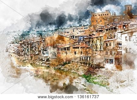 Digital watercolor painting of Valderrobres village known as one of the most beautiful village in Spain