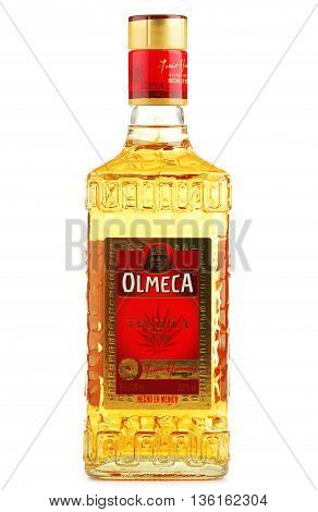 POZNAN POLAND - JUNE 23 2016: Olmeca Tequila is a tequila produced in Jalisco Mexico. Owned by the Pernod Ricard Group it is sold in 80 countries worldwide.