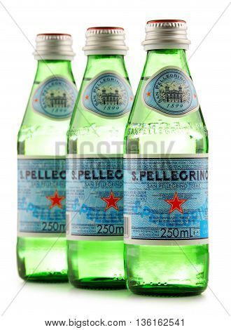 Bottles Of San Pellegrino Mineral Water Isolated On White