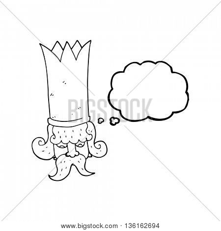 freehand drawn thought bubble cartoon king with huge crown