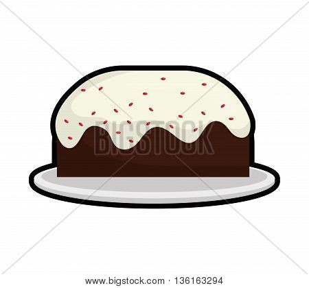 Dessert and celebration concept represented by sweet cake icon. isolated and flat illustration