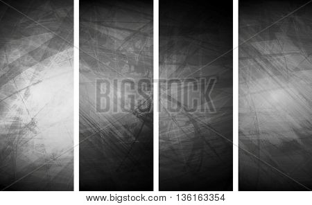 Grey grunge textural banners. Abstract vector background, wall texture surface