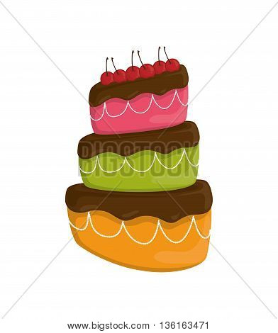 Dessert and celebration concept represented by sweet cake with cherrys icon. isolated and flat illustration