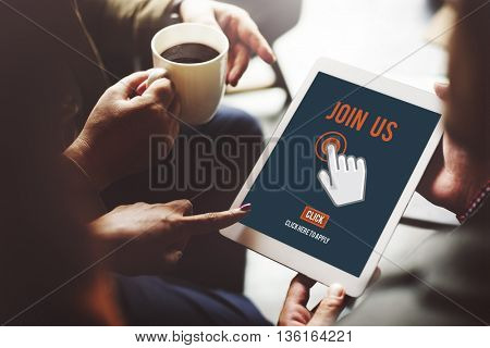 Join Us Recruitment Application Follow Website Online Concept